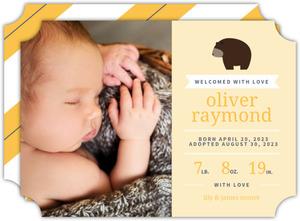 Little Yellow Bear Boy Adoption Announcement