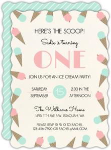 Ice Cream Scoop Birthday Party Invitation