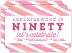 Bright Watercolor Stripes 90th Birthday Invitation