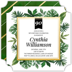 Tropical Greenery Watercolor 90th Birthday Invitation