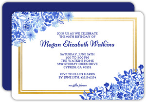 Blue Watercolor Floral Frame 90th Birthday Invitation