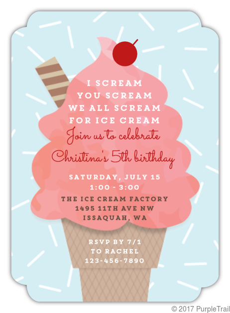 Pink Swirl Ice Cream Birthday Invitation