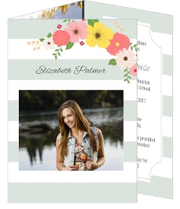 Floral Mint Stripes Graduation Invitation