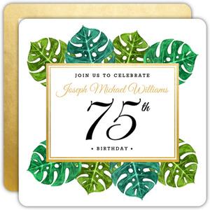 Elegant Tropical Surprise 75th Birthday Invitation
