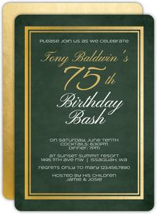 Chalkboard Gold Frame 75th Birthday Invitation