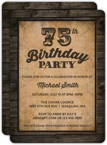Vintage Woodgrain 75th Birthday Invitation