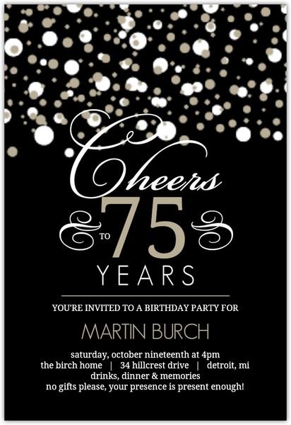 75th birthday invitations, custom birthday invites for everyone., Birthday invitations