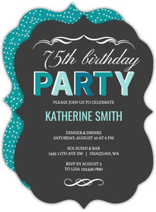 Turquoise Celebration 75th Birthday Invitation