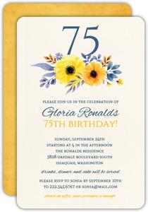 Elegant Yellow Floral 75th Birthday Invitation
