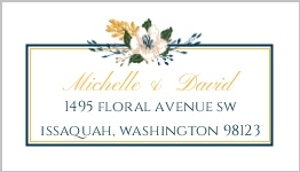 Modern Blue Floral Custom Address Label