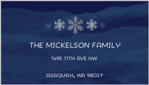 Navy Blue and Silver Snowflakes Address Label
