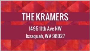 Red Geometric Watercolor Address Label
