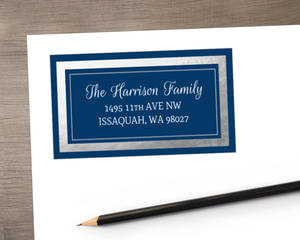Navy Blue and Silver Foil Address Label