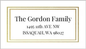 Double Gold Faux Foil Frame Address Label