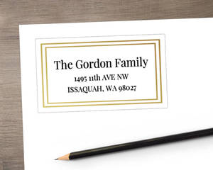 Double Gold Faux Foil Frame Address Label