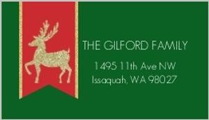 Glitter Reindeer Address Label