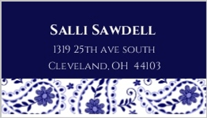 Blue And White Paisley Address Label