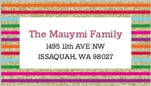 Modern Glitter Rainbow Stripe Address Label