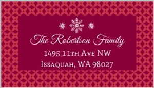 Red Pattern Snowflake Christmas Label