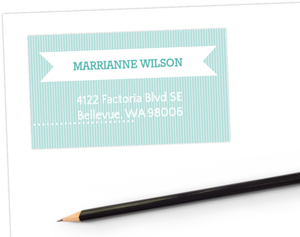 Turquoise Banner Address Label