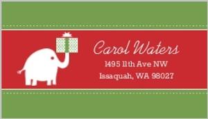 White Elephant Christmas Holiday Label