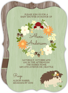 Woodland Hedgehog Baby Shower Invitation