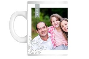 Gray And Mint Snowflake Cheers Holiday Custom Mug