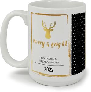 Gold Foil Deer Photo Christmas Mug