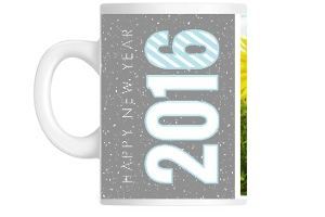 Gray And Blue Hello New Years Mug