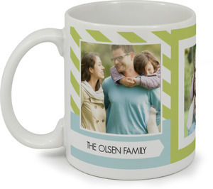 Green And Blue Striped Family Photo Coffee Mug