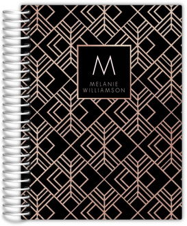 Black and Faux Rose Gold Mom Planner