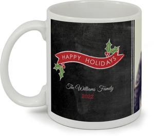 Red Banner And Mistletoe Holiday Coffee Mug