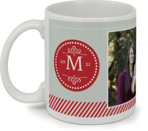 Red Monogram Stamp Custom Mug