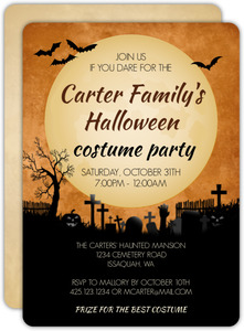 Midnight Graveyard Halloween Party Invitation