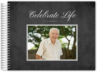 Chalkboard Celebrate Life Funeral Guest Book