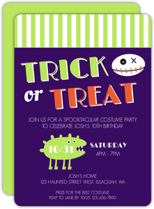 Costume Trick Or Treat Halloween Birthday Invitation