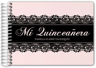 Pale Pink with Black Lace Quinceanera Guest Book