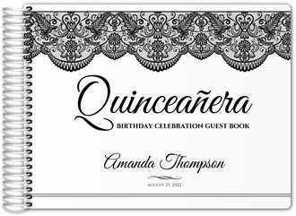 Black and White Lace Quinceanera Guest Book