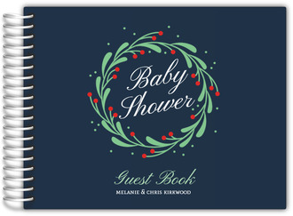Whimsical Mistletoe Wreath Christmas Baby Shower Guest Book