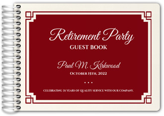 Red Geometric Border Retirement Guest Book