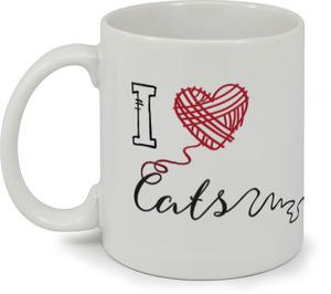 Black & Red I Heart Cats Mug
