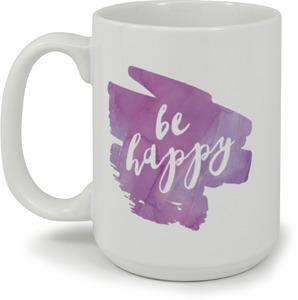 Purple Watercolor Be Happy Mug