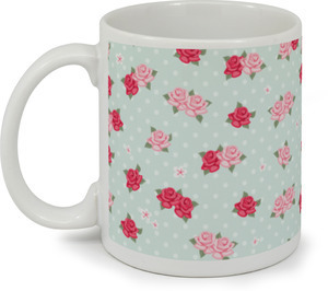 Mint Whimsical Floral Pattern Coffee Mug