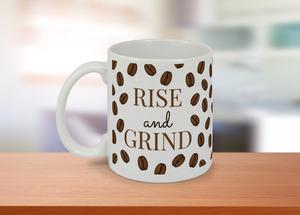 Rise and Grind Coffee Beans Pattern Custom Mug