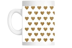 Faux Glitter Hearts Pattern Custom Mug