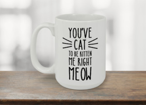 Black And White Cat Meow Coffee Mug