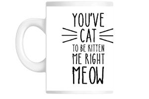 Black And White Cat Meow Mug