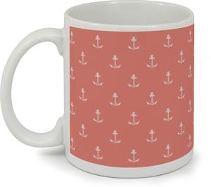 Coral Nautical Anchor Custom Mug