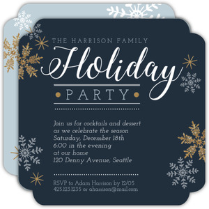 Faux Glitter Shimmer Holiday Party Invitation