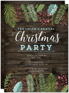 Woodgrain Holiday Leaves Christmas Party Invitation